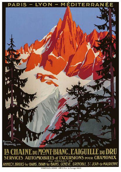 Mont Blanc Chamonix Original Ski Poster