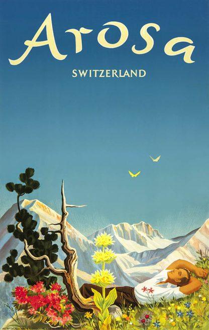 Arosa Original Ski Poster