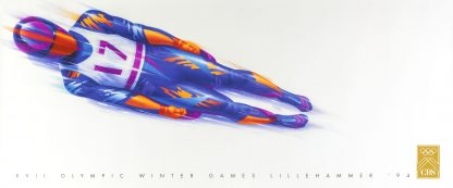 Lithograph in colours printed in USA by and for the CBS Television Company promoting its coverage of the Lillehammer 1994 Winter Olympic Games. A stunning bobsleigh/luge image catching all the speed and skill involved in this most alpine of winter sports. An excellent, clean example of this scarce poster with no condition issues, ready to frame.